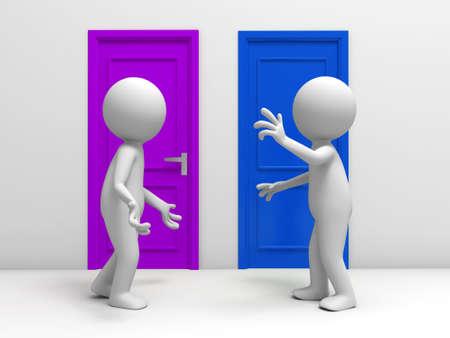 people discuss: Door  discuss  two people discuss in front of two doors