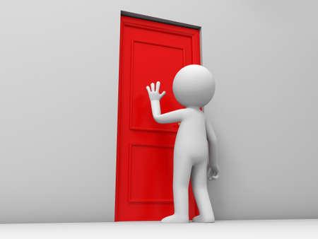 knocker: Door A person knock at a door Stock Photo