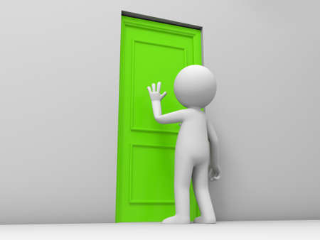 entrance door: Door A person knock at a door Stock Photo