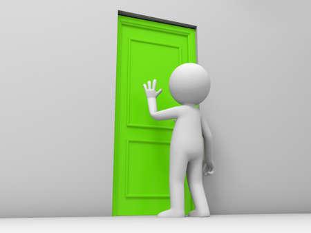 tocar la puerta: Puerta Una persona llamaron a una puerta Foto de archivo