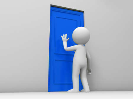 welcome home: Door A person knock at a door Stock Photo