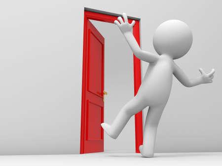 knocker: Door  a surprised people and a opened door Stock Photo