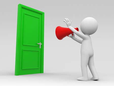 knocker: Door speaker A people call in front of a door with a speaker