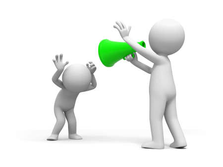 anther: Speaker a person shouts to anther person with a speaker