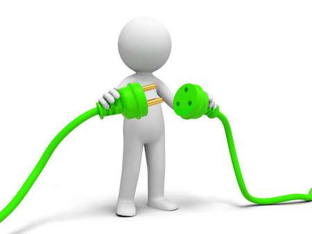 redes electricas: Conecte el cable de polvo a una persona conectar los enchufes Foto de archivo