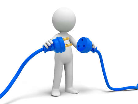 Plug powder cord a person connecting plugs Stock Photo - 15457538