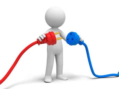 Conecte el cable de polvo a una persona conectar los enchufes Foto de archivo