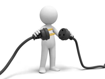 wall plug: Plug powder cord a person connecting plugs