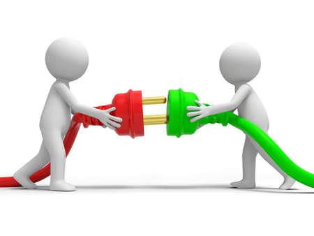 prise de courant: Cordon poudre Branchez deux personnes se connectant bouchons Banque d'images
