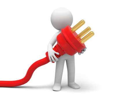 redes electricas: Conecte el cable de una persona que lleva polvo enchufe