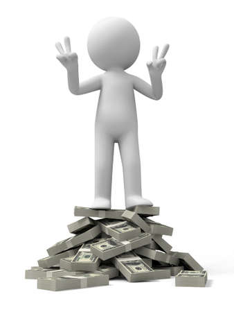 wage: Dollar a person standing on bundles of dollars Stock Photo