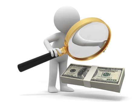 human figures: Dollar Magnifying glass  a person watching a bundle of dollars with a magnifying glass