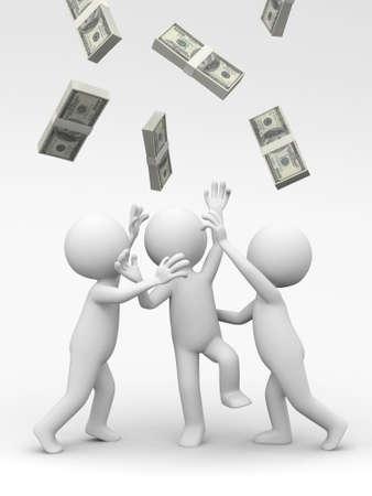wage: Dollar three people snatching bundles of dollars Stock Photo