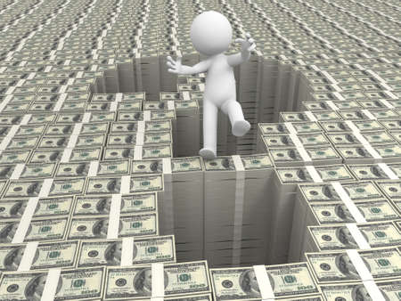 Dollar question mark a person standing a question mark on bundles of dollars Stock Photo - 15458337