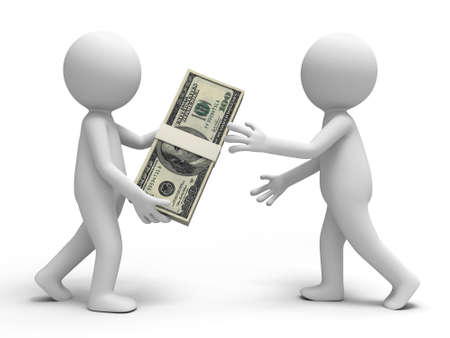 wages: Dollar a person giving a bundle of dollars to another one