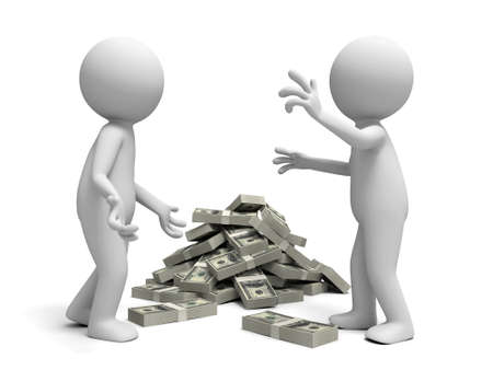 wage: Dollar discuss two people discussing nearby a bundle of a bundle of dollars