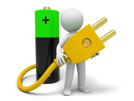 recharge: Battery plug a man carrying a plug , which connecting a battery