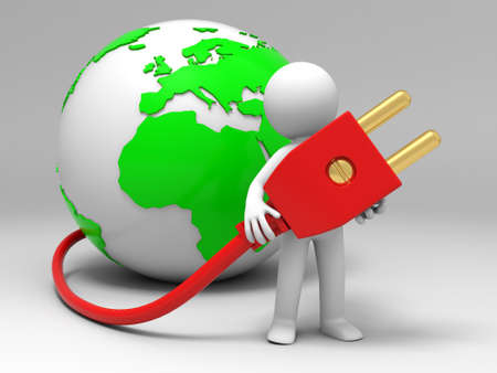 globe plug a man carrying a plug , which connecting a globe Stock Photo - 15458302