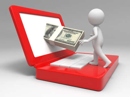 Dollar computer earn a man earning dollars by computer Stock Photo - 15458317