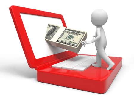 wage: Dollar computer earn a man earning dollars by computer