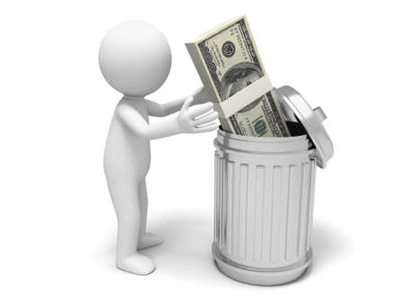 Dollar dustbin a man throw a bundle of dollars to a dustbin photo