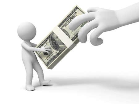 robbing: Dollar a big hand robbing a person's dollars