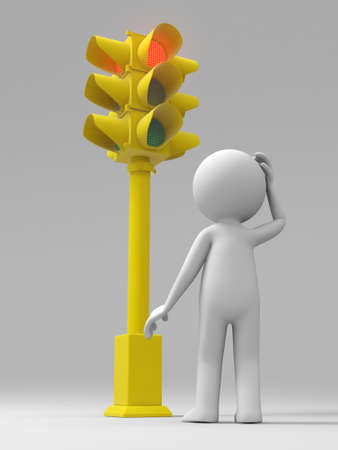 Traffic light a man standing in front of a traffic light  photo