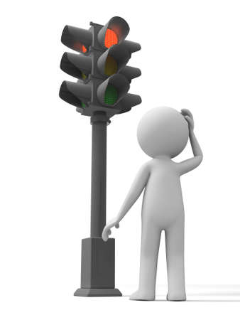 semaphore: Traffic light a man standing in front of a traffic light  Stock Photo