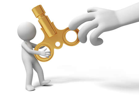 tiresome: Clockwork a big hand robbing the clockwork from a man Stock Photo