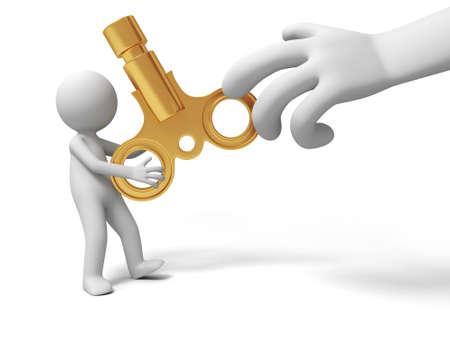 stimulus: Clockwork a big hand robbing the clockwork from a man Stock Photo