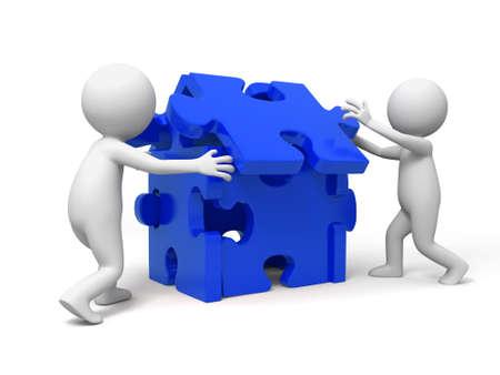 entreprise puzzle: Puzzle casse-t�te de deux personnes de jouer