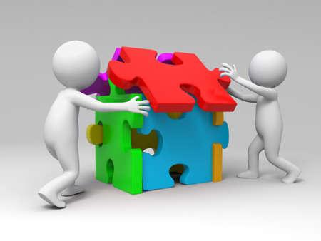 Puzzle dos personas jugando rompecabezas