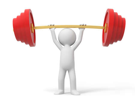 heavy weight: Barbell a man carrying a barbell