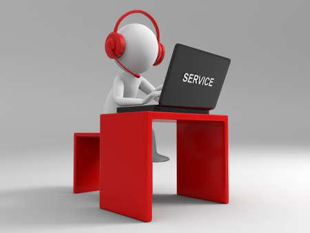 support agent: Desk computer   a businessman working, sitting at a desk
