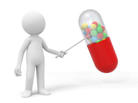 pharmacy pills: Capsule a man point to a capsule Stock Photo