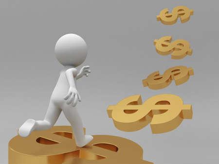 rich man: Dollar run a man running along a line of dollars