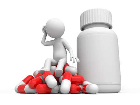 medische kunst: Capsule fles een man denken, zittend op een stapel van capsules