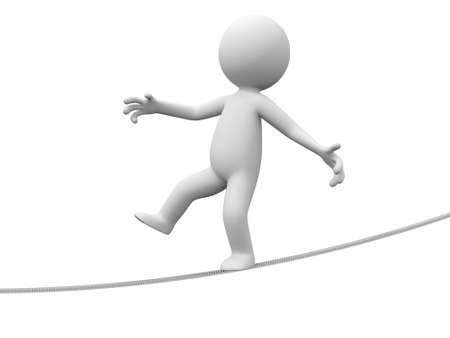 balance beam: A 3d person walking on a balance beam