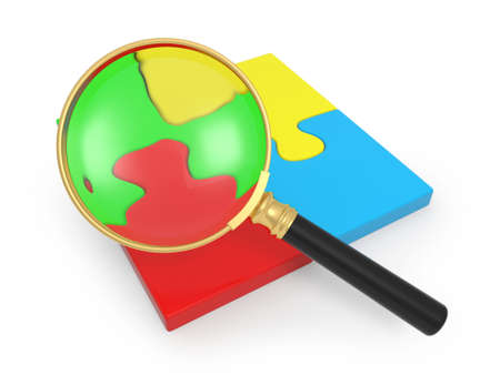 3d,puzzle,magnifying glass, red, blue, green, yellow photo