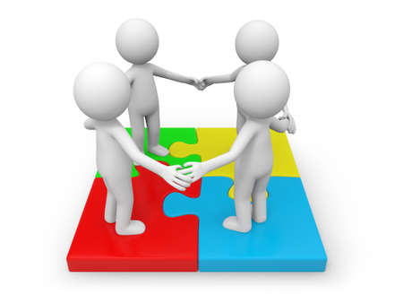 join hands: Four 3d people standing on a puzzle