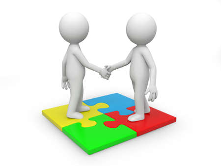 Two 3d people standing a puzzle, hands shaking photo