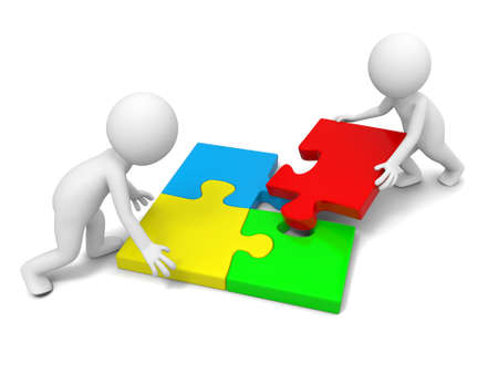 human figures: Two 3d people solving the puzzle together Stock Photo