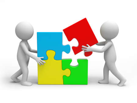 teamwork success: Two 3d people solving the puzzle together Stock Photo