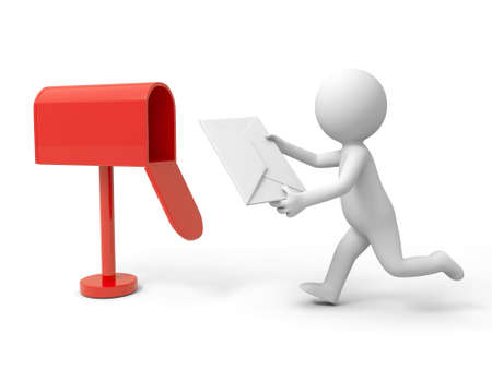 old envelope: A 3d person posting a cover letter Stock Photo