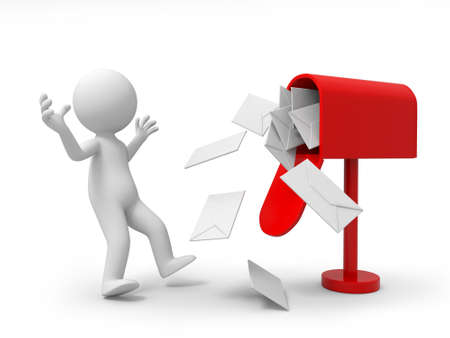 correspond�ncia: A pessoa 3d surpreso com um monte de cartas na caixa de correio