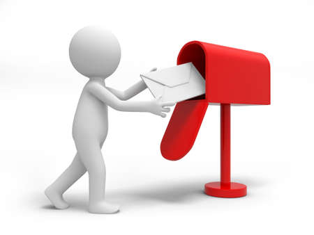 e mailing: A 3d person sending a letter to the mail box Stock Photo