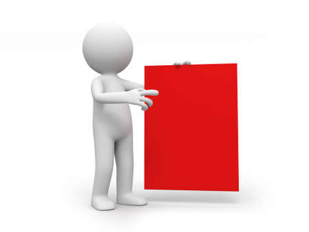 A 3d person holding a red board photo
