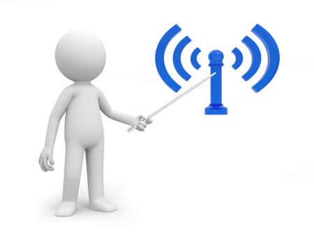 A 3d person pointing to a wifi symbol photo