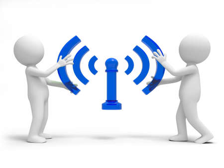 wifi sign: Two people are holding the wifi symbol Stock Photo