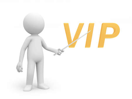A 3d person pointing to a VIP symbol photo